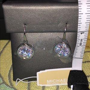 MK drop earrings MICHAEL KORS silver crystal NEW